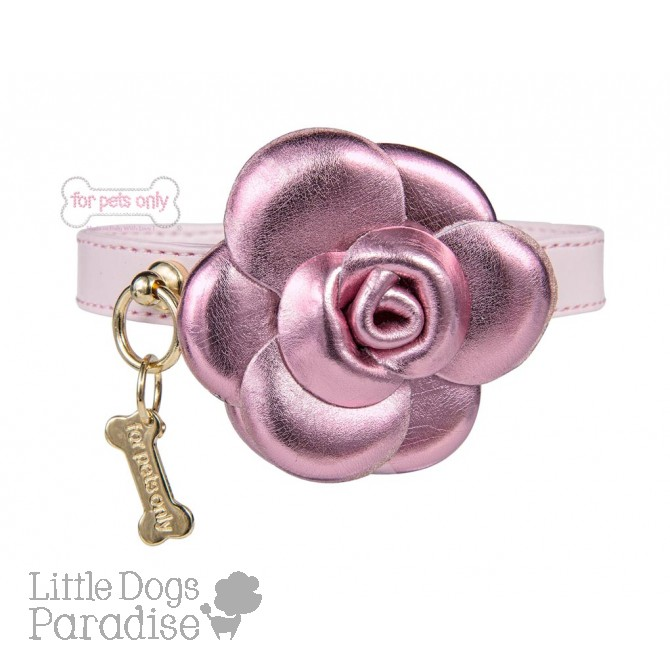 Pink Camelia Ecoleather Collar