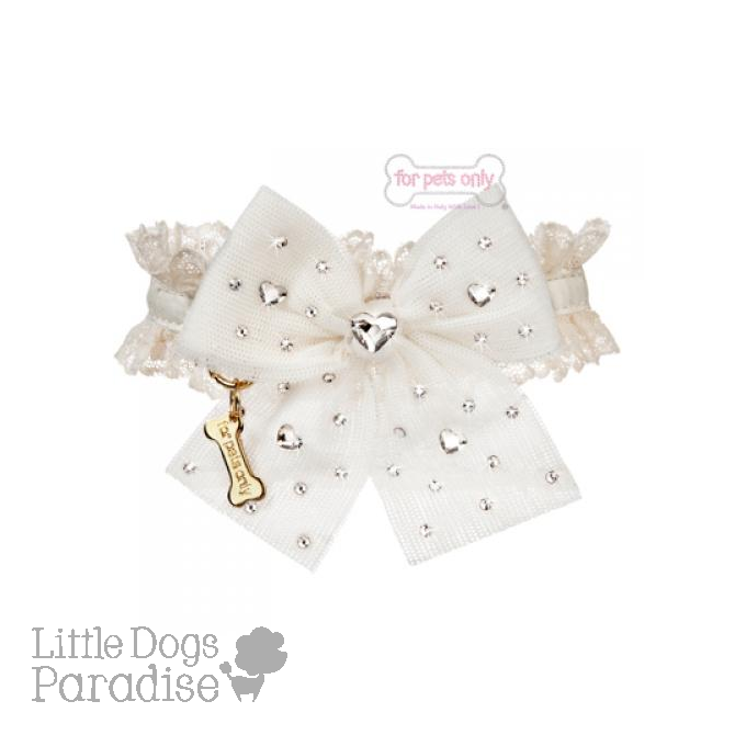 Diamonds Hearts Collar Bianco