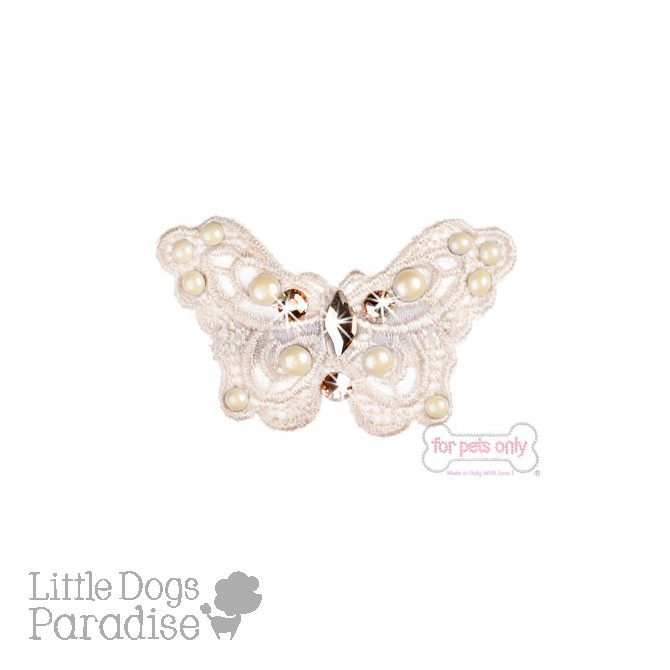 Butterfly Bow Hairclip - Bianco