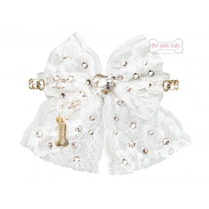 Sparkling Bow White Ecoleather Collar