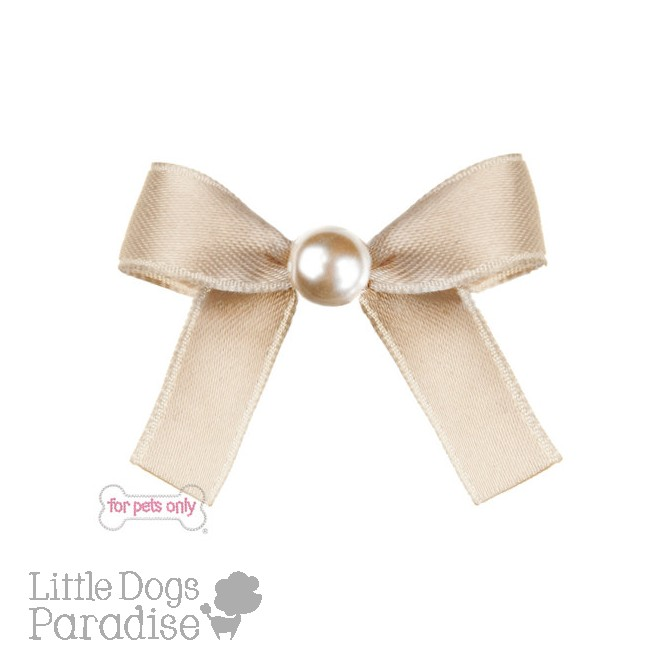 Pearl Bow Hairclip - Beige